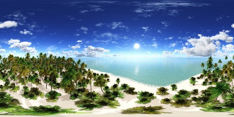 Tropical beach with palm trees. HDRI, environment map , Round panorama, spherical panorama, equidistant projection, panorama 360, seascape