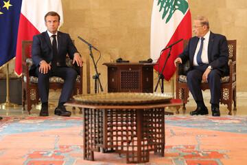French President Emmanuel Macron meets with Lebanese President Michel Aoun in Baabda
