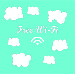 free Wifi vector sign and illustration with clouds