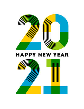 Happy New Year 2021 design. Abstract numbers with stripes and color blocks isolated on white background. Elegant vector illustration in modern style for holiday calendar, greeting card, flyer, banner