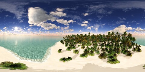 Tropical beach with palm trees. HDRI, environment map , Round panorama, spherical panorama, equidistant projection, panorama 360, seascape,
