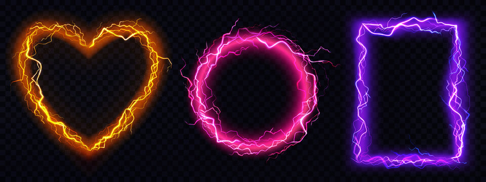 Electric lightning frames in shape of circle, heart and rectangle. Digital glowing neon borders. Vector realistic set of pink, red and purple sparking discharge isolated on transparent background