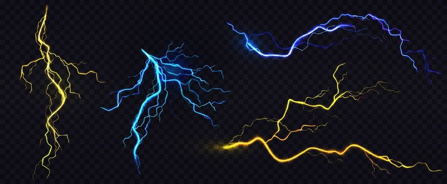 Lightnings, thunderbolt strikes during storm at night. Vector realistic set of blue and yellow electric impact, sparking discharge of thunderstorm isolated on dark transparent background