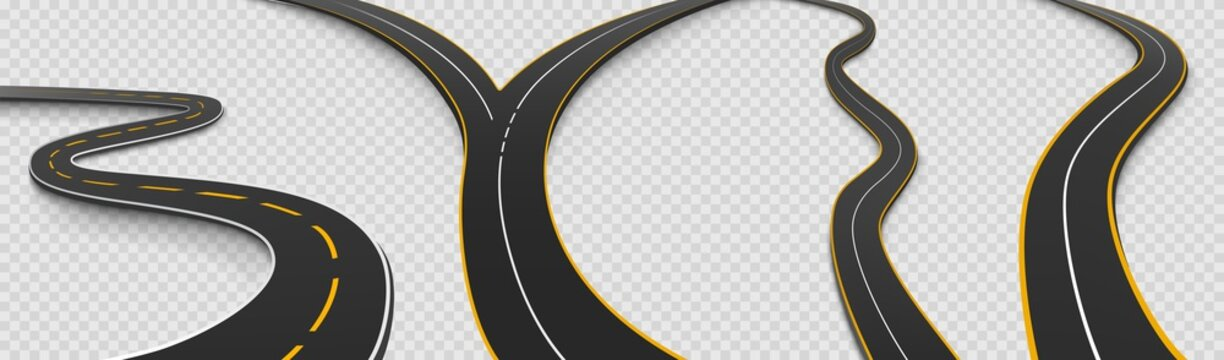 Road, winding and fork highway isolated on transparent background. Journey two lane curve asphalt pathway going into the distance. Route direction and navigation signs for map, Realistic 3d vector set