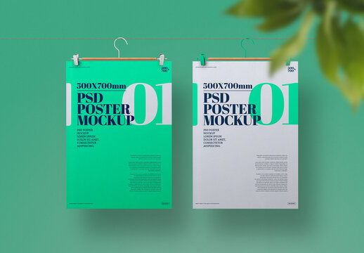 Poster Mockups Hanging on Clothesline with Leaves