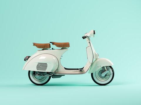 White scooter on blue background 3 D illustration