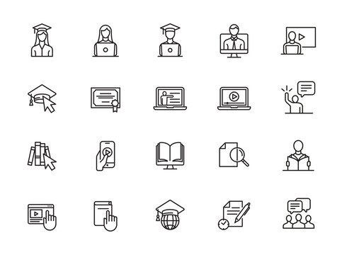 minimal e-learning line icon set