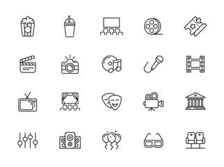 minimal entertainment line icon set
