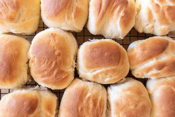 fresh baked bread buns