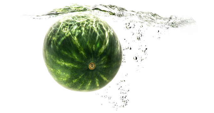 one green striped watermelon falling into water on a white background with splashes, drops and bubbles. summer fruit and berry. soft focus.
