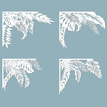 Set feathers. Laser cut template of openwork vector silhouette. For envelope with ornate floral ornament. Decorative design pattern for holiday