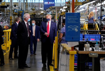 U.S. President Donald Trump tours Whirlpool Corporation washing machine factory in Clyde, Ohio