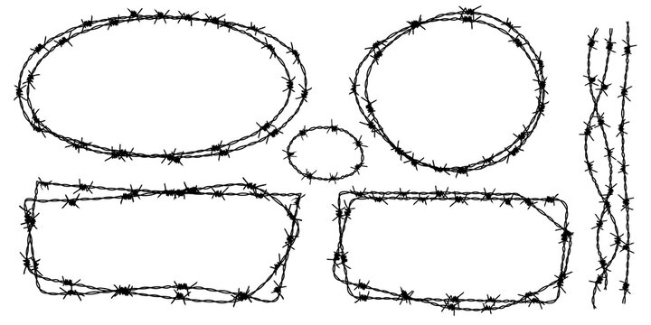 Twisted barbed wire silhouettes set in rounded and square shapes. Vector illustration of steel black wire barb fence frames. Concept of protection, danger or security