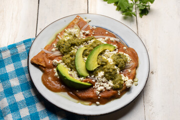 Mexican enfrijoladas with green sauce on white background