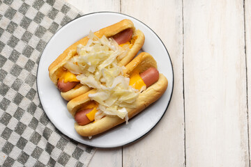 Montreal hot dog with cabbage on white background
