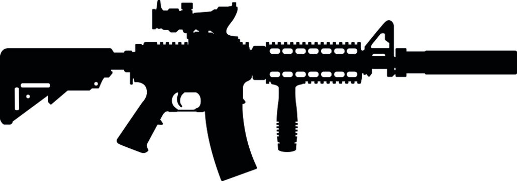 USA United States Army, United States Armed Forces  and United States Marine Corps - Police fully automatic machine gun Colt M4 / M16 Carbine Caliber 5.56mm. Silhouette