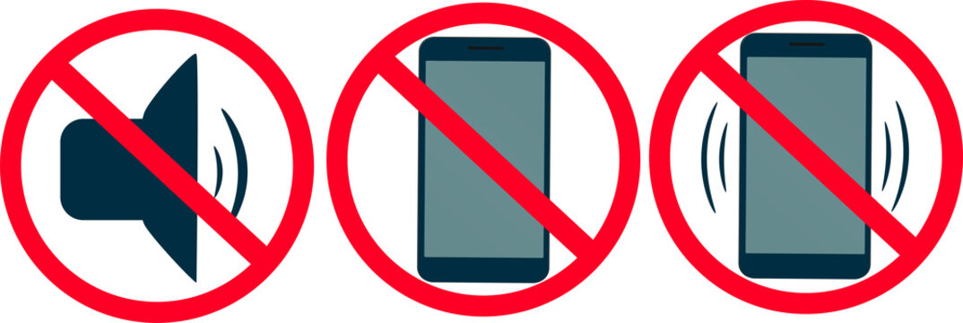 Prohibition sign. It is forbidden to use a mobile phone. Red crossed out circle, phone or alarms off sign. Turn off the sound, switch to silent mode. Vector image.