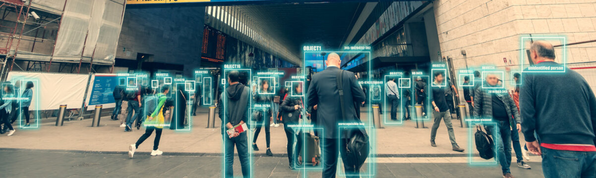 Ai identify person technology for recognize, classify and predict human behavior for safety. Futuristic artificial intelligence. Surveillance and data collection of citizens through city cameras.