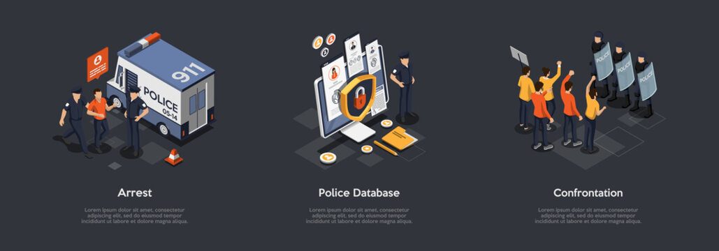 Protection Of Population. Police Officers Apprehending Criminal. Man Is Under Arrest. Policeman Use Database To Check Information Confrontation Protest Action. Cartoon Flat Style. Vector Illustration