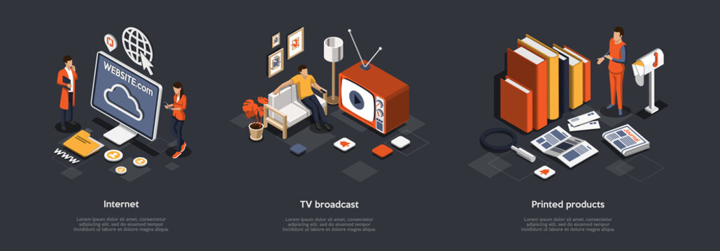 Mass Media And Breaking News Concept. Male And Female Characters Find An Information What Happening In The World From Internet, Watching TV And Get Fresh Newspapers. Isometric 3d Vector Illustration