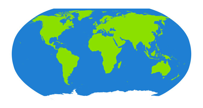Oval projection map of the globe. Green and blue, vector illustration.