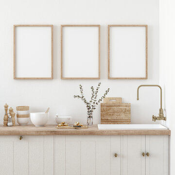 Mock up poster frame in kitchen interior, Farmhouse style, 3d render