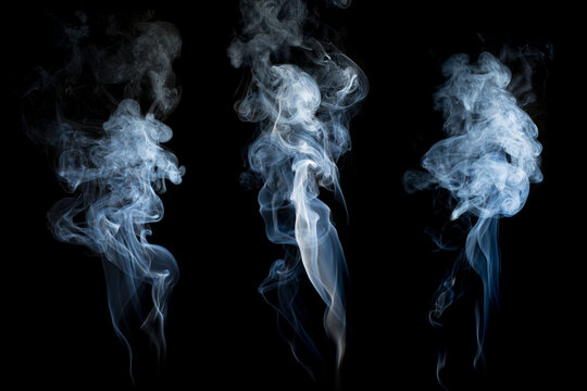 White fog or smoke collection on black background