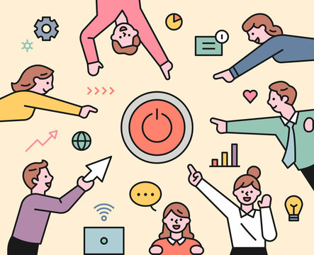 Business team members are pointing the power button in the middle. flat design style minimal vector illustration.