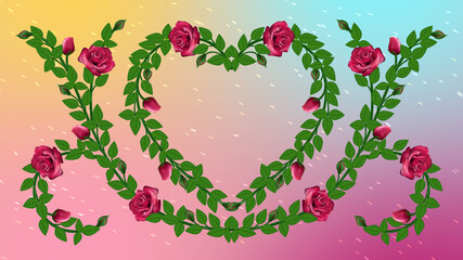 Beautiful Windy Spring Heart Rose Vine Flowers With Green Leaves on Bright Colorful Gradient Background