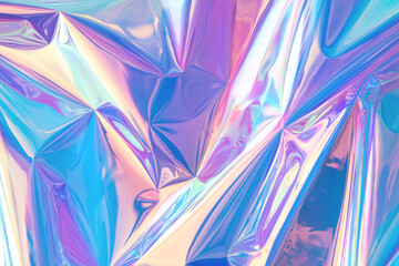 Blurred abstract Modern pastel colored holographic background in 80s style. Crumpled iridescent foil real texture. Synthwave. Vaporwave style. Retrowave, retro futurism, webpunk