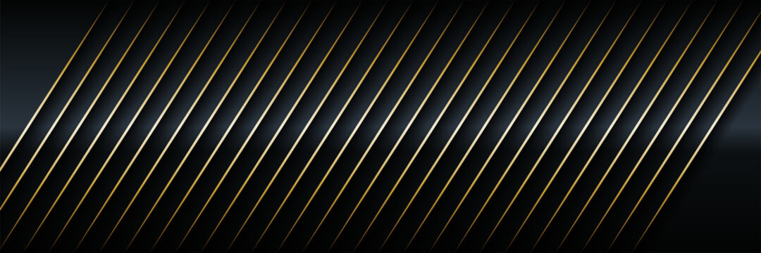 Vector illustration of Modern abstract black paper realistic layered papercut decoration textured with golden halftone pattern. 3d backdrop and Material design concept for Cover layout template