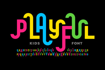 Playful style font design, childish alphabet letters and numbers