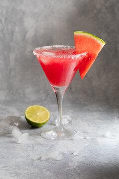 Watermelon martini cosmopolitan with watermelon and lime