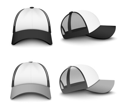 Snapback baseball cap mockup set from front and side view