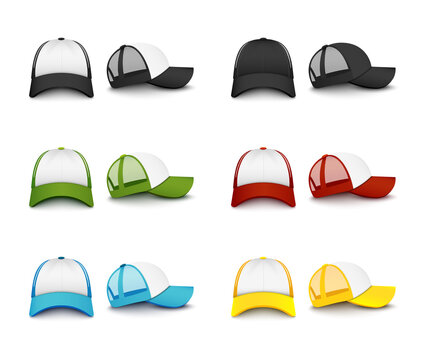 Realistic colorful baseball cap mockup set from front and side view