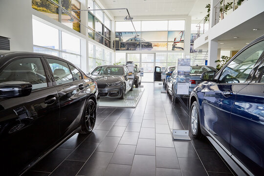 Petrozavodsk, Russia - June 19, 2019: Cars in showroom of dealership BMW in Petrozavodsk in Russia