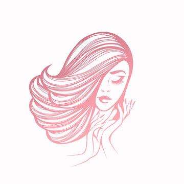 Woman with long, wavy hairstyle.Elegant makeup and manicure.Hair salon, nails art and beauty studio vector illustration.Hairdresser, cosmetics and spa logo.Beautiful young lady portrait.Cute face.