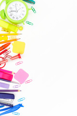 back to school, multicolored school supplies, rainbow on white background, flatley, copyspace