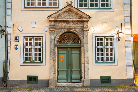 Riga, Latvia. Facade Of One Of The Three Houses. Landmark The Three Brothers Buildings. State Inspection For Heritage Protection And Latvian Museum Of Architecture