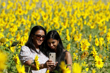 People take a selfie in a field of sunflowers, amid the coronavirus disease (COVID-19) outbreak, in Chorleywood