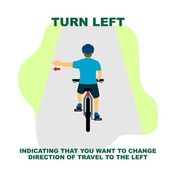 Cycling rules for traffic safety, turn left bicycle hand signals.