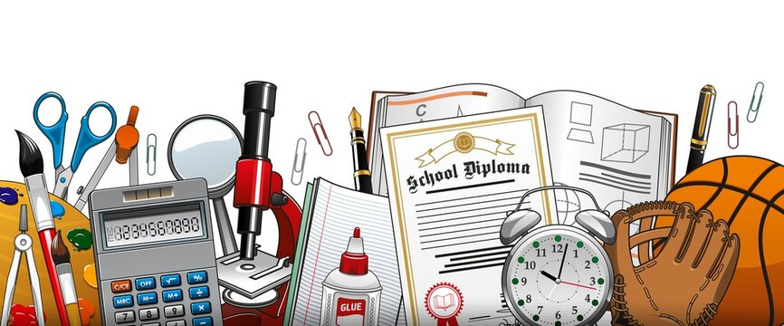 School stationery and accessories vector paints palette, brush and compass, scissors, clip and calculator with magnifier and microscope, glue, diploma and textbook. Alarm clock, baseball glove and pen