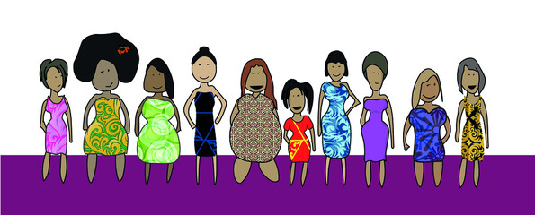 Diversity women of all races and shapes tall short tall fat skinny plus size women girls girl power Vector illustration