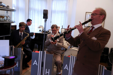 "Members of Berlin-based swing band ""The Swingin' Hermlins"" perform in Berlin"