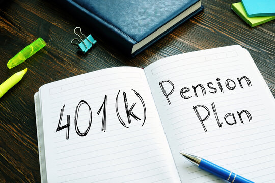 401 k vs. Pension Plan is shown on the conceptual business photo