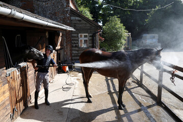 A racing horse is cooled down by stable lad Bertie Symonds after exercising on the gallops at Lawney Hill Racing stables in Aston Rowant