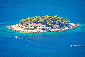Fototapeta Island of Galisnik in Hvar archipelago aerial view