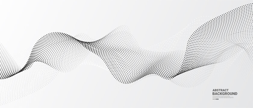 White abstract background with flowing particles. Digital future technology concept. vector illustration.