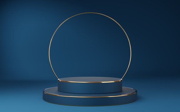 Empty blue cylinder podium with gold border and gold circle on blue background. Abstract minimal studio 3d geometric shape object. Mockup space for display of product design. 3d rendering.
