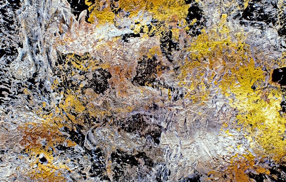 Gold acriliyc paint texture splash abstract image.